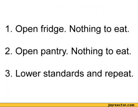 1. Open fridge. Nothing to eat. 2. Open pantry. Nothing to eat. 3. Lower standards and repeat.,funny pictures,food,algorythm