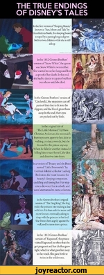 """THE TRUE ENDINGS OF DISNEYS TALESIn the first sersion of Sleeping Beauty*, known as """"Sun, Moon and Talia' by Giambattista Basilc, the sleeping beauty is raped by a passing king and gives birth to two children while she is still asleep.In the IS 12 Grimm Brothers' version of Snow White' the queen"""
