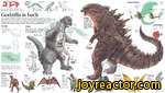 Its design was inspired by three prehistoric dinosaurs hOorsal plates of a stegosaurusLong arms of an iguanodonOverall shape of an old model of a tyrannosaurus rexGodzilla's name is a transliteration of Gojira a combination of two Japanese words: gorira meaning gorilla, and kujira <8$