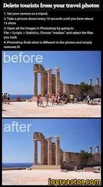 """Delete tourists from your travel photos1: Set your camera on a tripod.2: Take a picture about every 10 seconds until you have about3: Open all the images in Photoshop by going toFile > Scripts > Statistics. Choose """"median"""" and select the filesyou took.4: Photoshop finds what is different in the"""