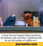Cookie Monster happily helped preparing the birthday-cake for Ernie4s girlfriend until he saw the number of candles on it