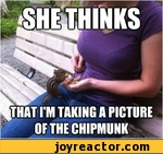 She thinks, that i'm taking a picture of the chipmunk