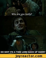 Who are you really?  OH SHIT ITS A TIME LORD BACK UP HARRY