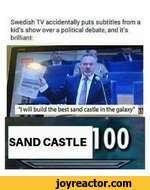 Swedish TV accidentally puts subtitles from a kid's show over a political debate, and it's brilliant:
