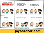 LOOK OUT/ IT'S THEGeflfinne NflznWATCH YOUR GRAMMAR//MY FRIEND AND I DON'T WANT TO GO TO YOUR CAMP/PLEASE DONT KILL MY FRIEND AND ME/RRGU!OUR GRAMMAR WAS CORRECT/ WHY ME/?BECAUSE YOU'RE A 3EW\Cyanide and Happiness Explosm.net