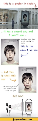 "This is a poster in Spainit has a secret iou and I wont see ...elmaltrato infantilvecessolovisibleelesninoparalosufreque""Sometimes child abuse is onli seen bt the victim""This is the advert we see... but this is what kidsseeJf somebody hurts iou, phone us and we will help iou""zzsezz&eiiA veces"
